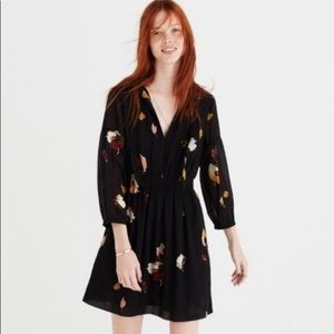 Madewell Painted Floral Tie Neck Dress Sz. 0